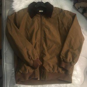 Oversized Tan Bomber Jacket w/ Corduroy Collar